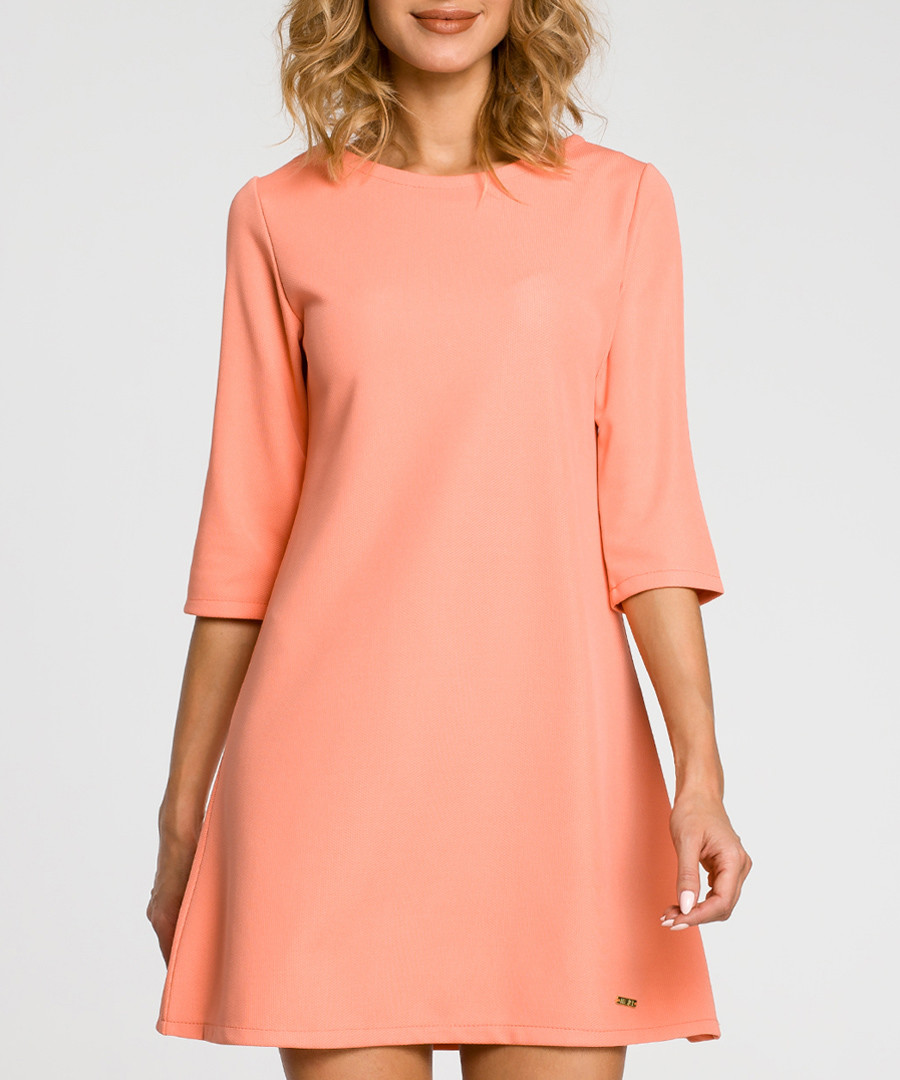 Coral 3/4 sleeve A-line dress Sale - made of emotion