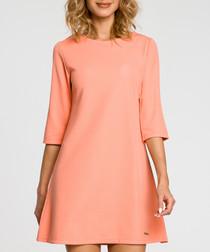 Coral 3/4 sleeve A-line dress