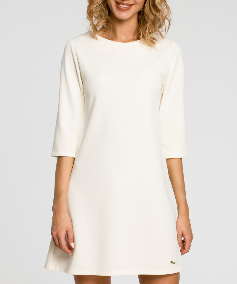 Ecru 3/4 sleeve A-line dress Sale - made of emotion
