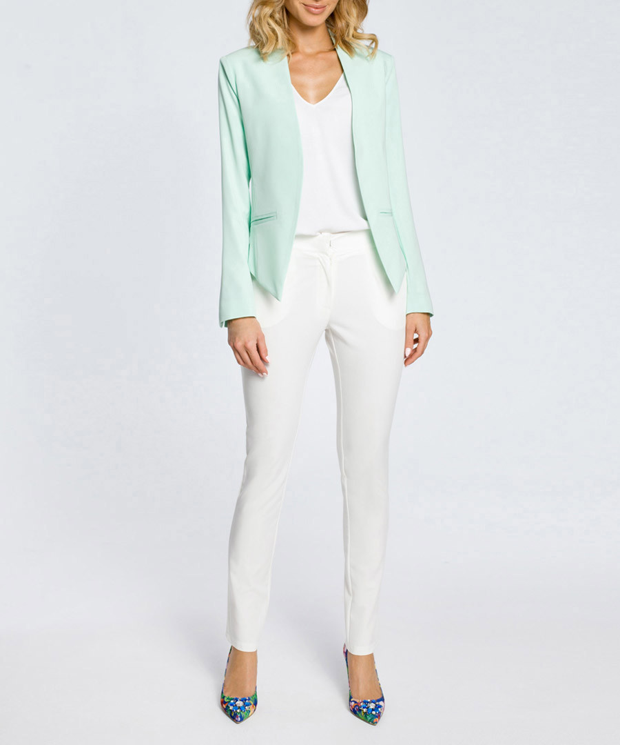 Mint pointed collarless jacket Sale - made of emotion
