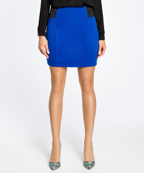 Royal blue cotton blend mini skirt