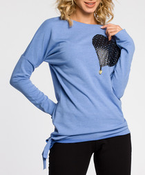 Blue cotton heart long sleeve blouse