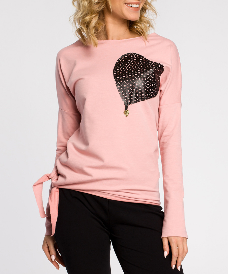Pink cotton heart long sleeve blouse Sale - made of emotion