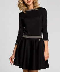 Black 3/4 sleeve mini dress