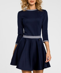 Navy 3/4 sleeve mini dress