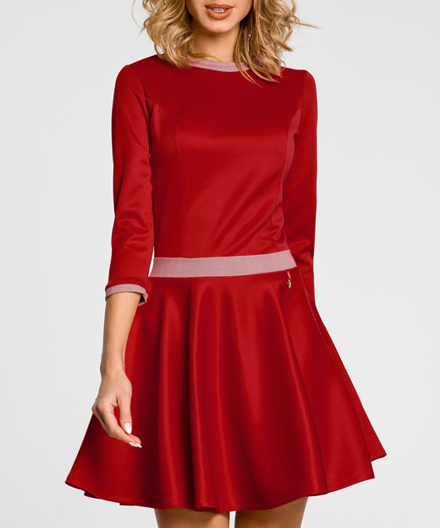 Red 3/4 sleeve mini dress Sale - made of emotion