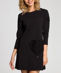 Black cotton blend heart patch dress