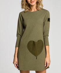 Khaki cotton blend heart patch dress