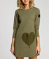 Khaki cotton blend heart patch dress Sale - made of emotion Sale
