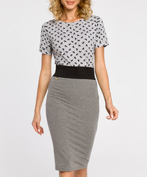 Grey cotton blend pencil skirt
