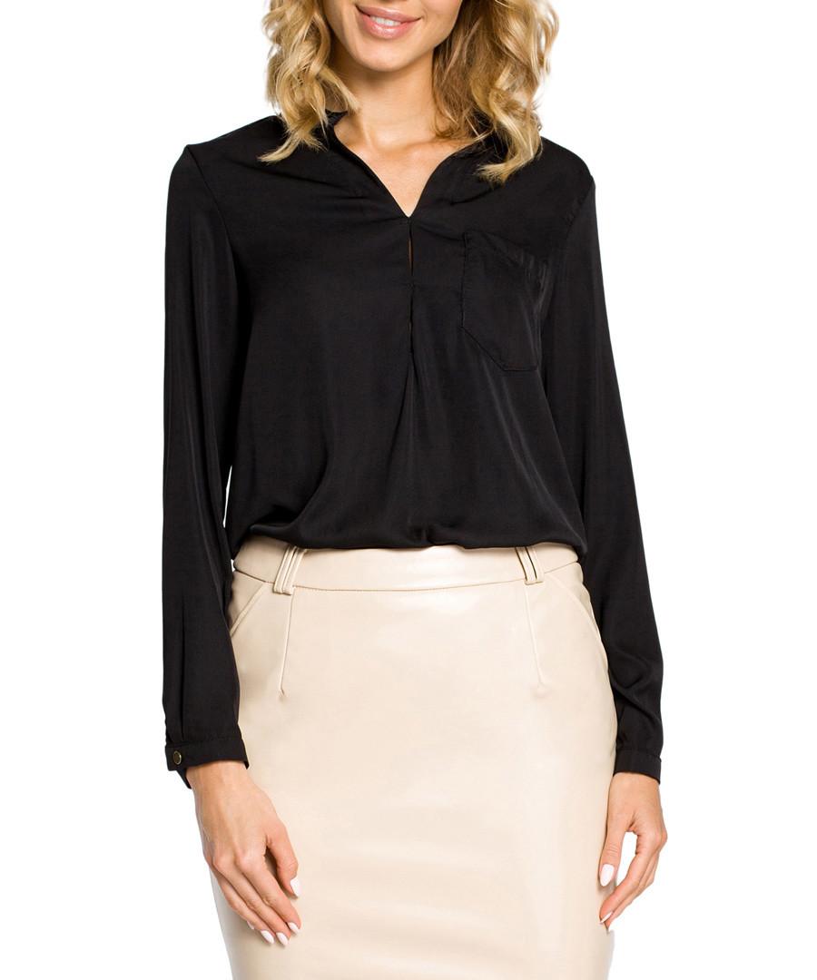 Black V-neck long sleeve blouse Sale - made of emotion