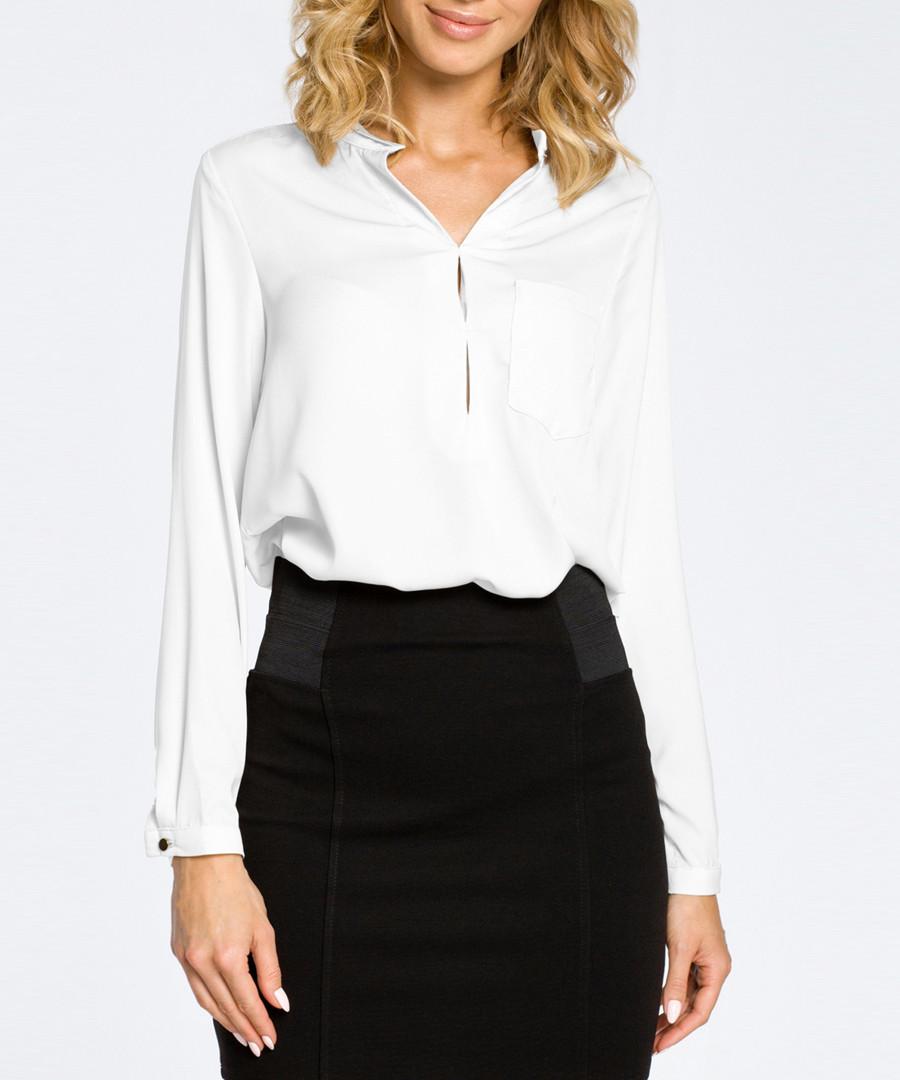 White V-neck long sleeve blouse Sale - made of emotion