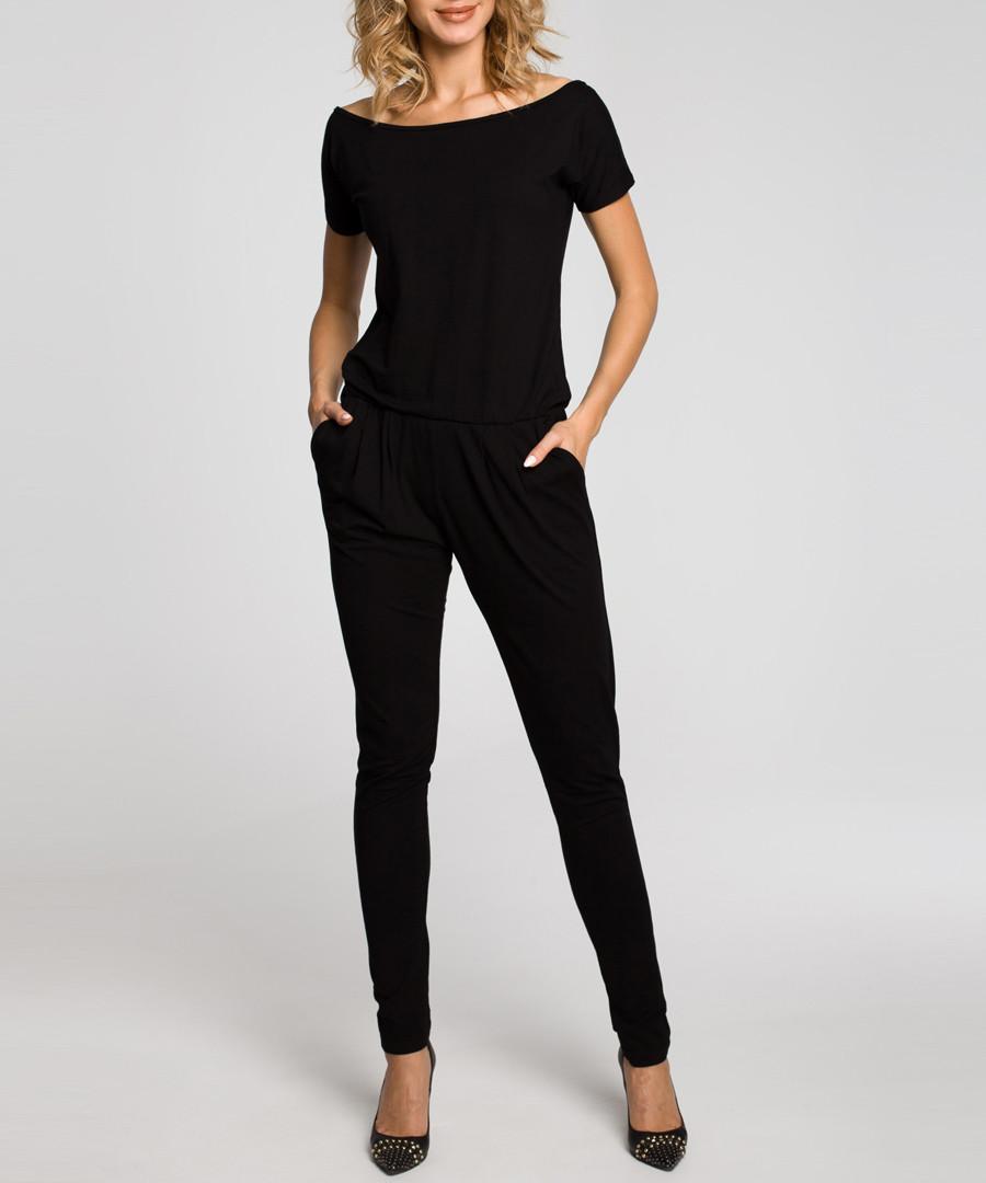 Black boat neck T-shirt jumpsuit Sale - made of emotion