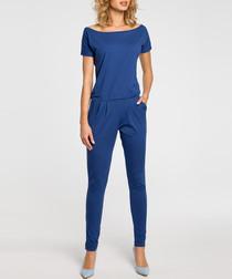 Blue boat neck T-shirt jumpsuit