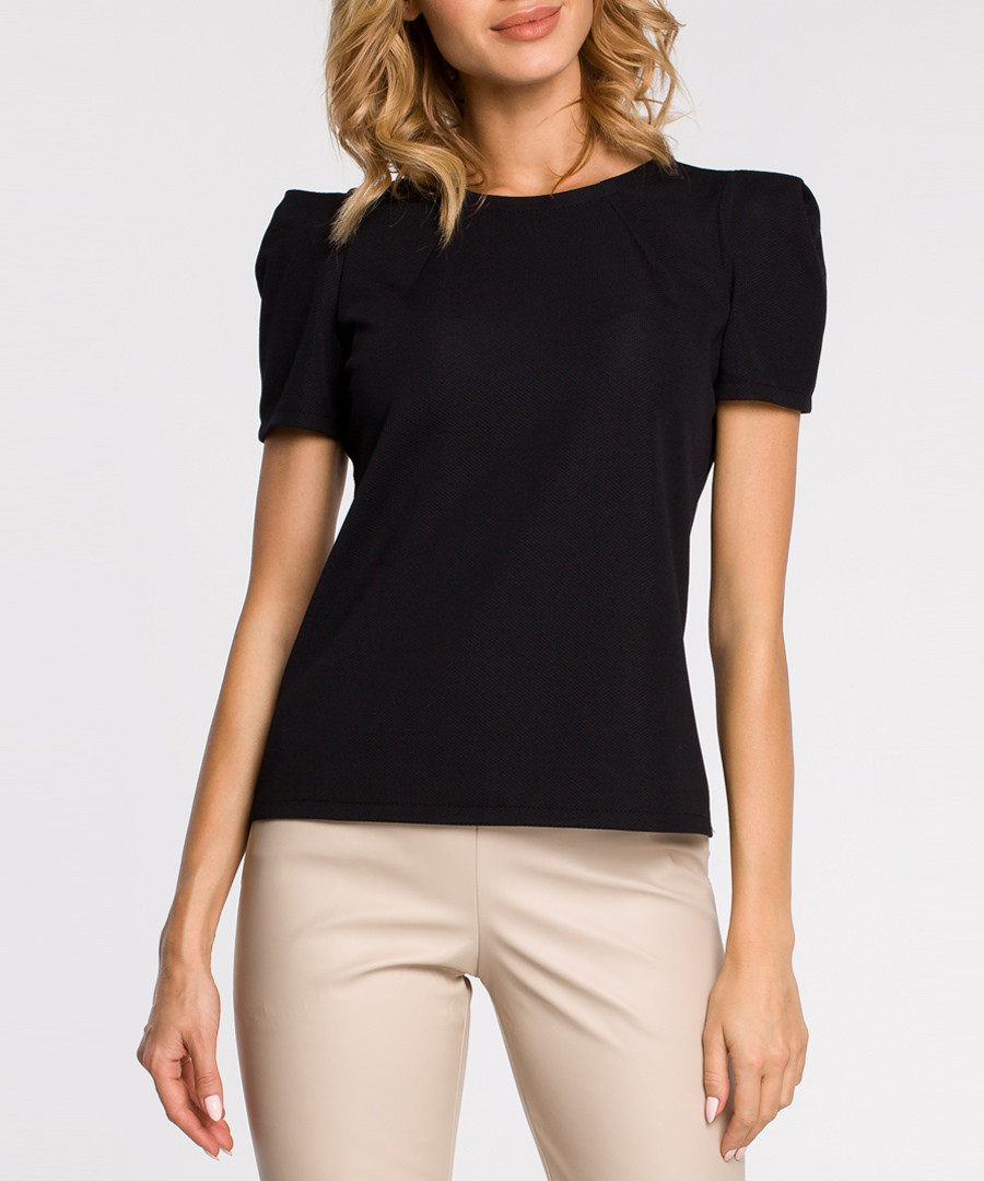 Black short puff sleeve blouse Sale - made of emotion