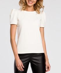 Ecru short puff sleeve blouse