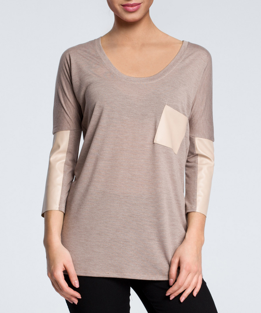 Cappuccino pocket scoop neck blouse Sale - made of emotion