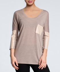 Cappuccino pocket scoop neck blouse