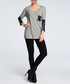 Grey & black contrast scoop neck blouse Sale - made of emotion Sale