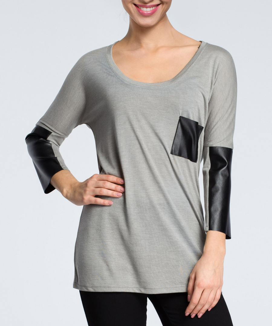 Grey & black contrast scoop neck blouse Sale - made of emotion