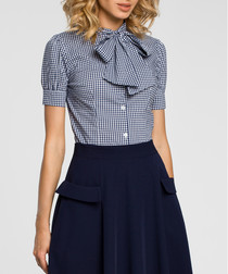 Navy short sleeve pussybow blouse
