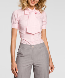 Pink short sleeve pussybow blouse