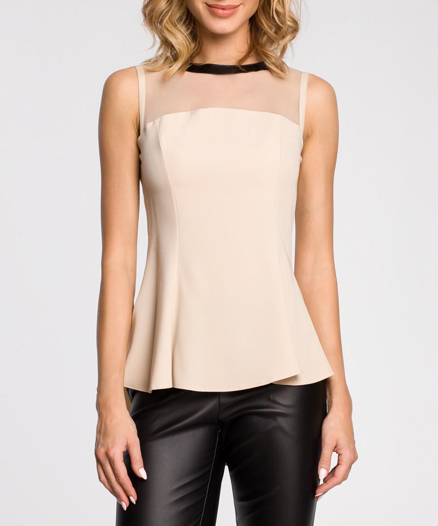 Beige mesh panel sleeveless blouse Sale - made of emotion
