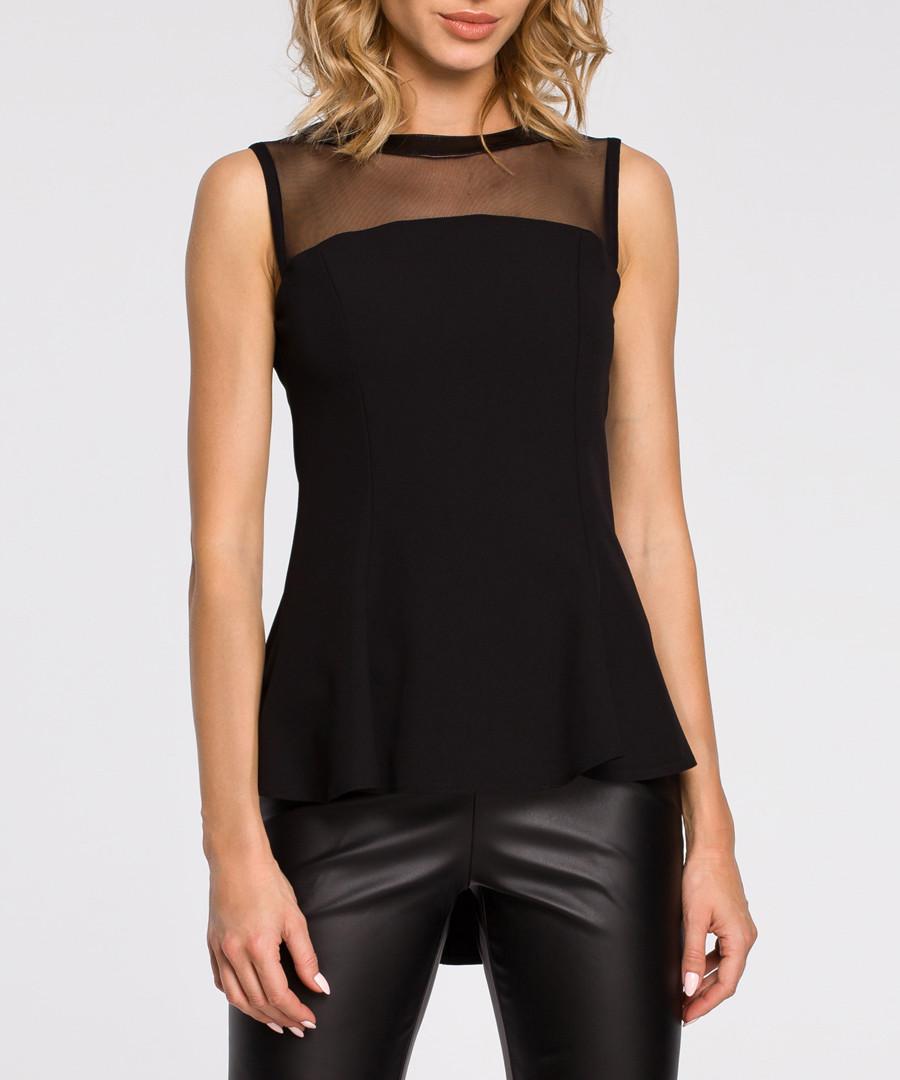 Black mesh panel sleeveless blouse Sale - made of emotion