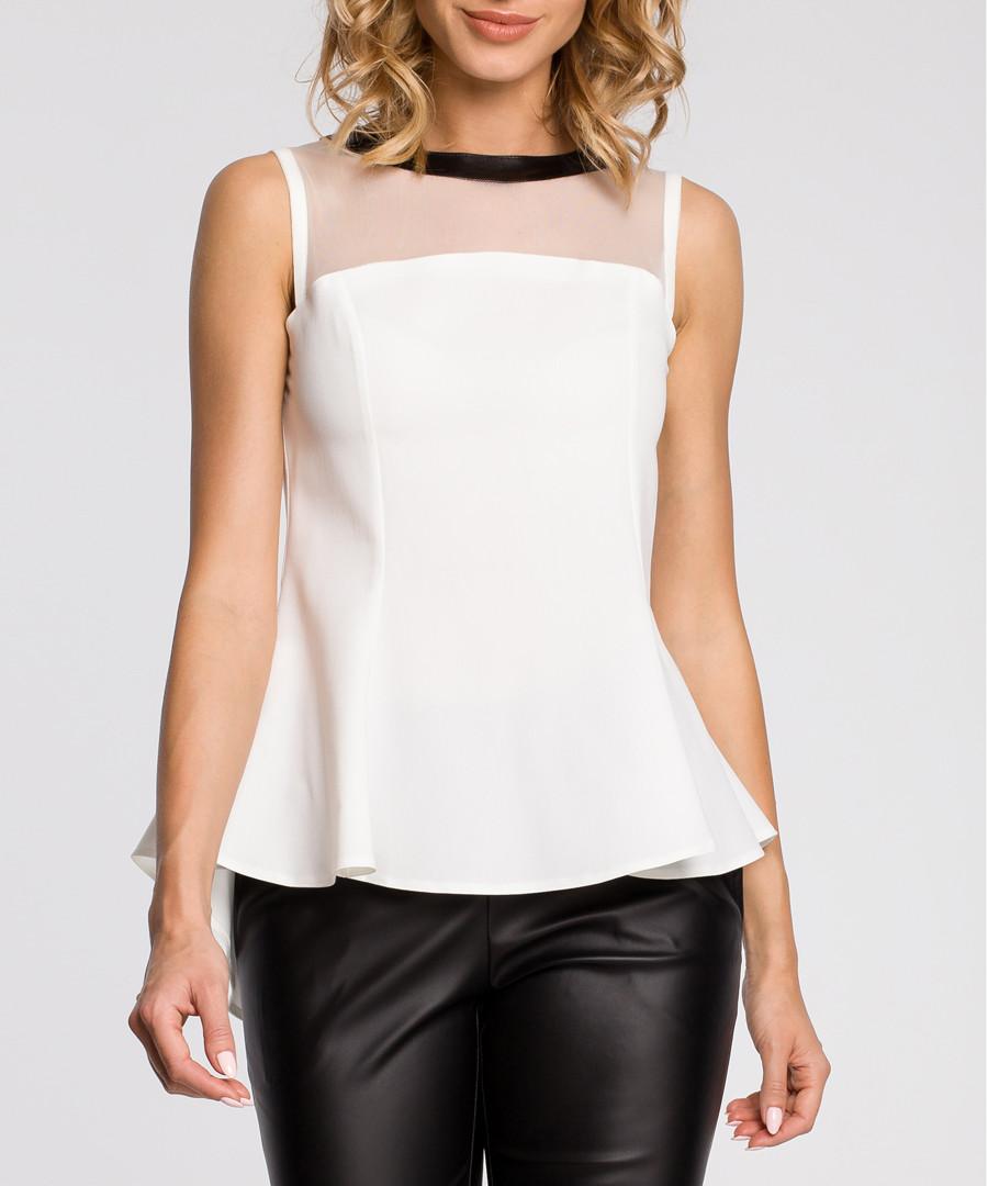 Ecru mesh panel sleeveless blouse Sale - made of emotion