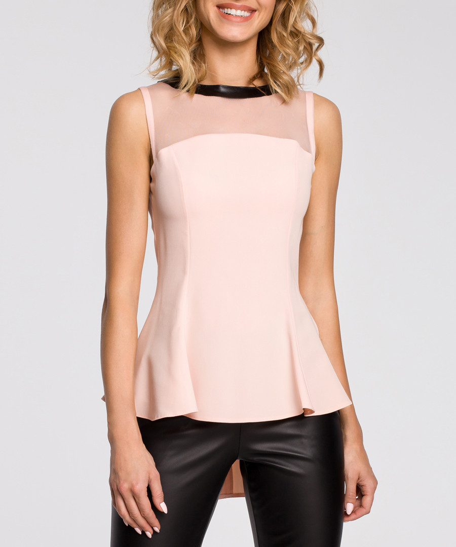 Pink mesh panel sleeveless blouse Sale - made of emotion