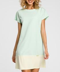 Mint & cream colourblock T-shirt dress