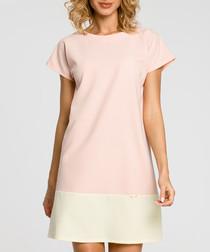 Pink & cream colourblock T-shirt dress