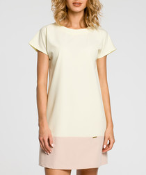 Cream & pink colourblock T-shirt dress