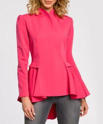 Pink ruffle waist peplum blouse