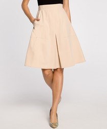 Beige box pleat knee-length skirt