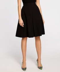 Black pleated knee-length skirt