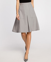 Grey pleated knee-length skirt