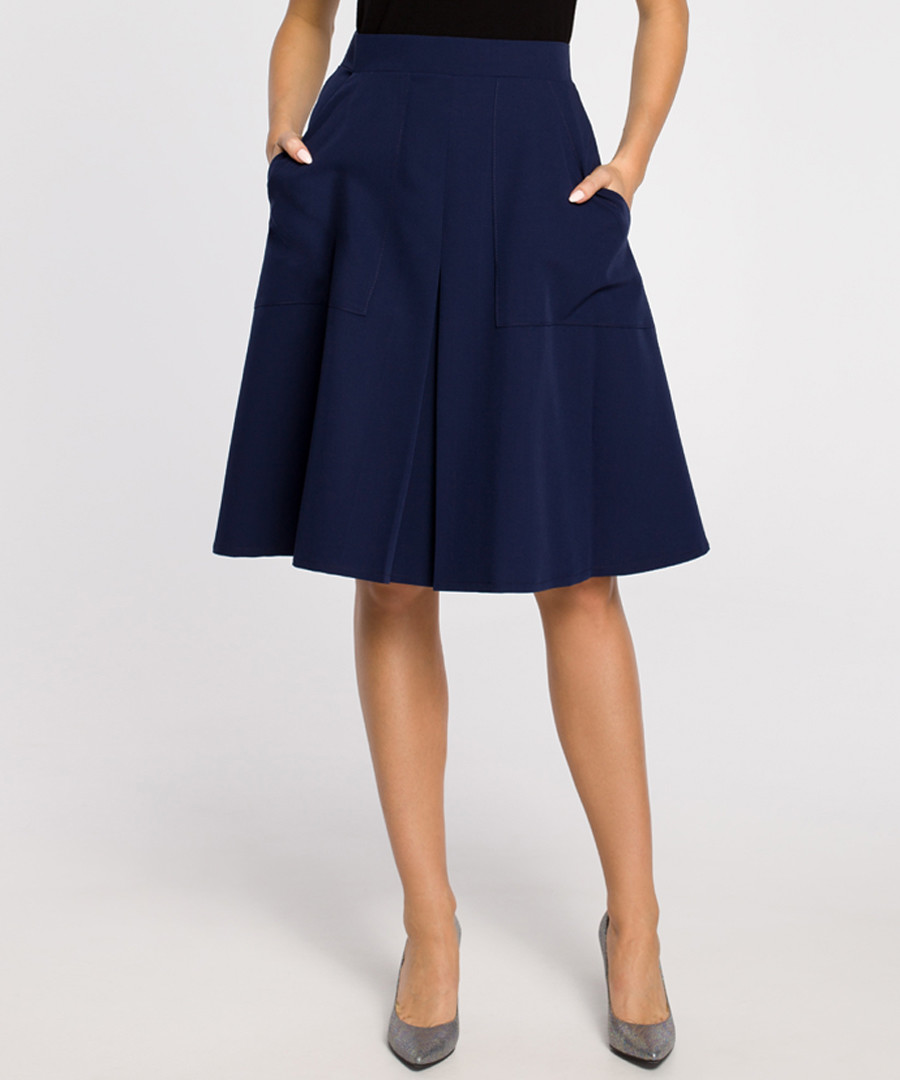 Navy pleated knee-length skirt Sale - made of emotion