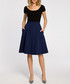 Navy pleated knee-length skirt Sale - made of emotion Sale