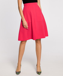 Pink pleated knee-length skirt