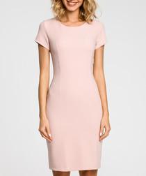 Powder pink wool blend sheath dress