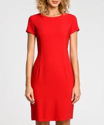 Red wool blend sheath dress
