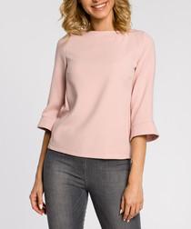 Powder pink wool blend blouse