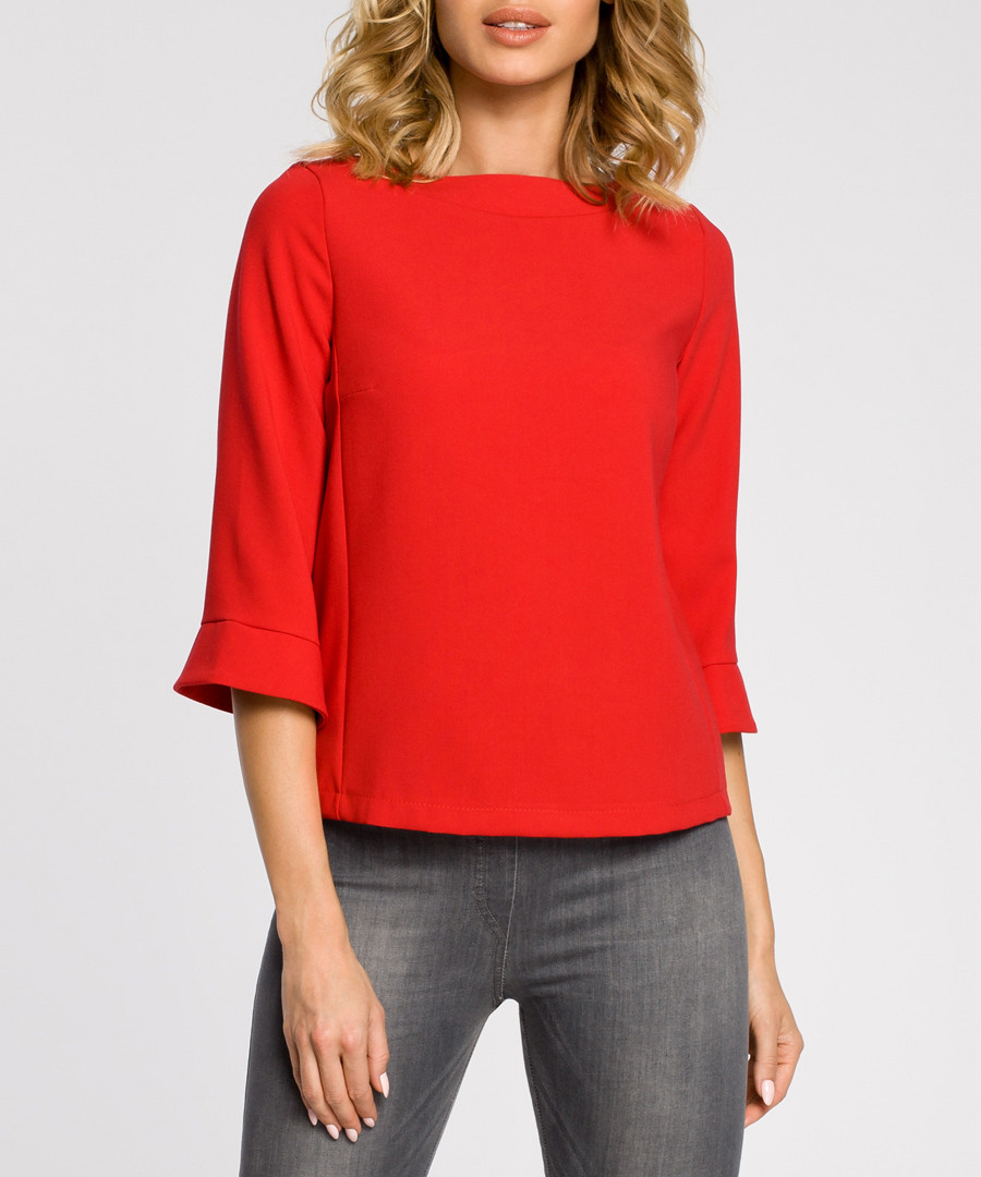 Red wool blend 3/4 sleeve blouse Sale - made of emotion