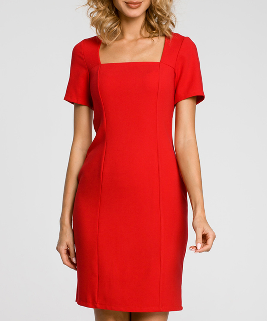 Red wool blend square neck dress Sale - made of emotion