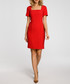 Red wool blend square neck dress Sale - made of emotion Sale