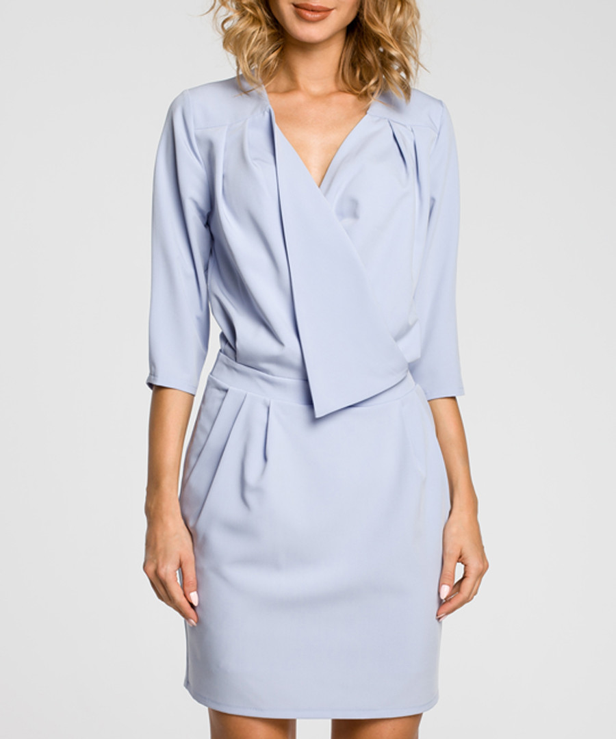Light blue drape wrap dress Sale - made of emotion