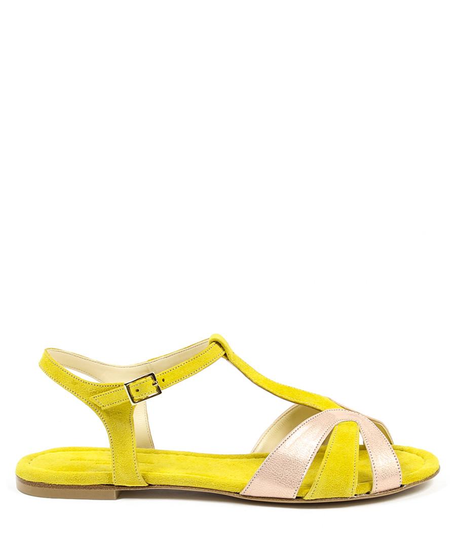 Pink & yellow leather sandals Sale - v italia by versace 1969 abbigliamento sportivo srl milano italia