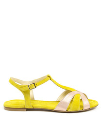 Pink & yellow leather sandals