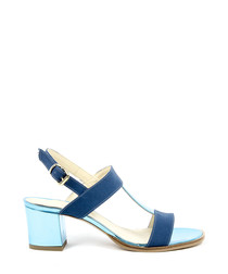 Blue leather strappy heeled sandals